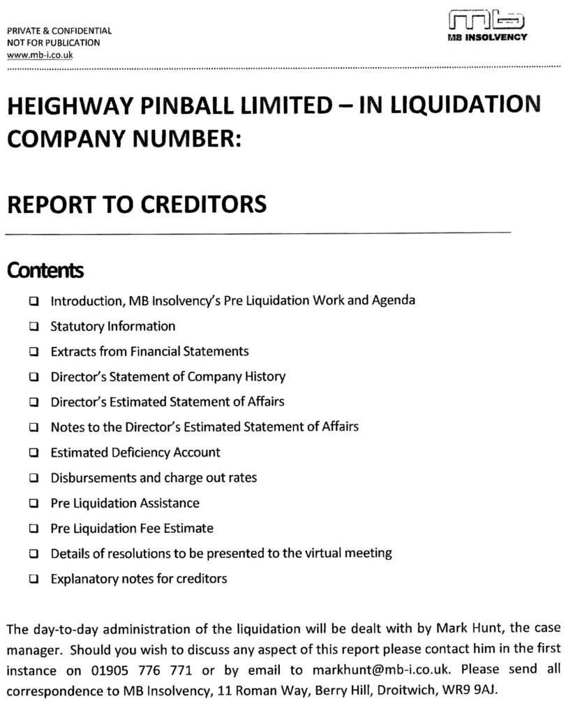 The Heighway Pinball liquidation letter sent to creditors