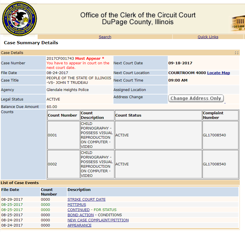 Case schedule