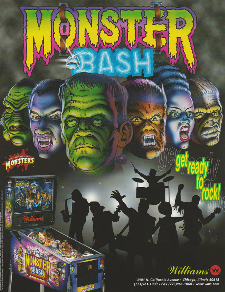 The flyer for the Williams Monster Bash game
