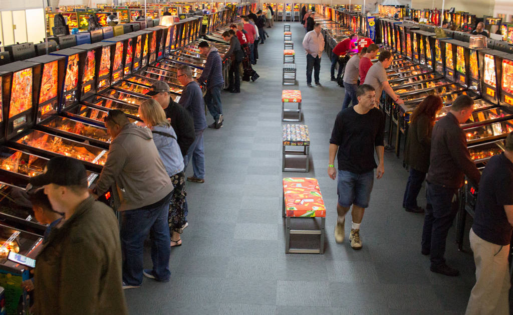 Some of the hundreds of pinballs at the Museum