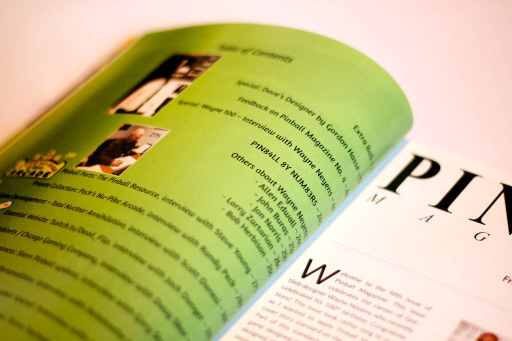The contents page in issue 5