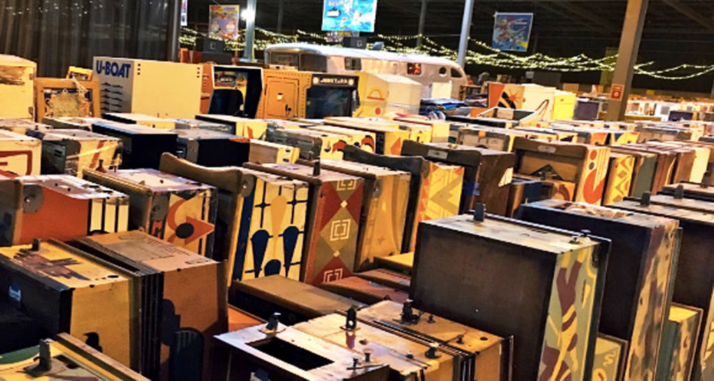 Pinball machines in storage at the Pacific Pinball Museum