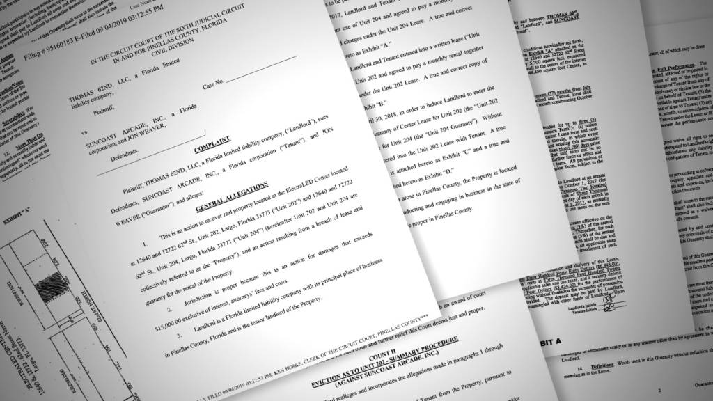 Some of the documents filed in the civil case against Suncoast Arcade