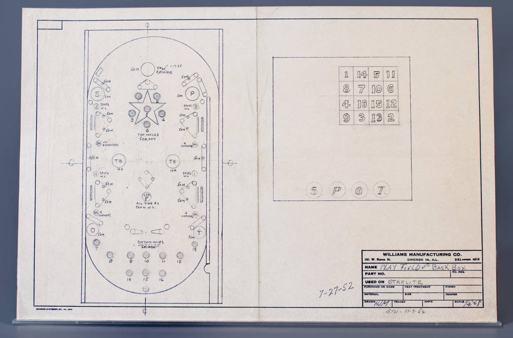 The playfield and backbox drawings for the game Starlite, drawn by Harry Mabs but with Gordon Horlick's initials too