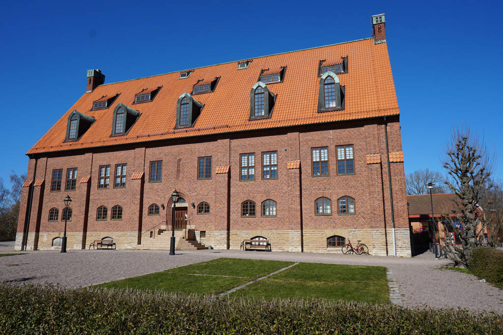 The exhibit is held in the back of this imposing building in the center of Skara