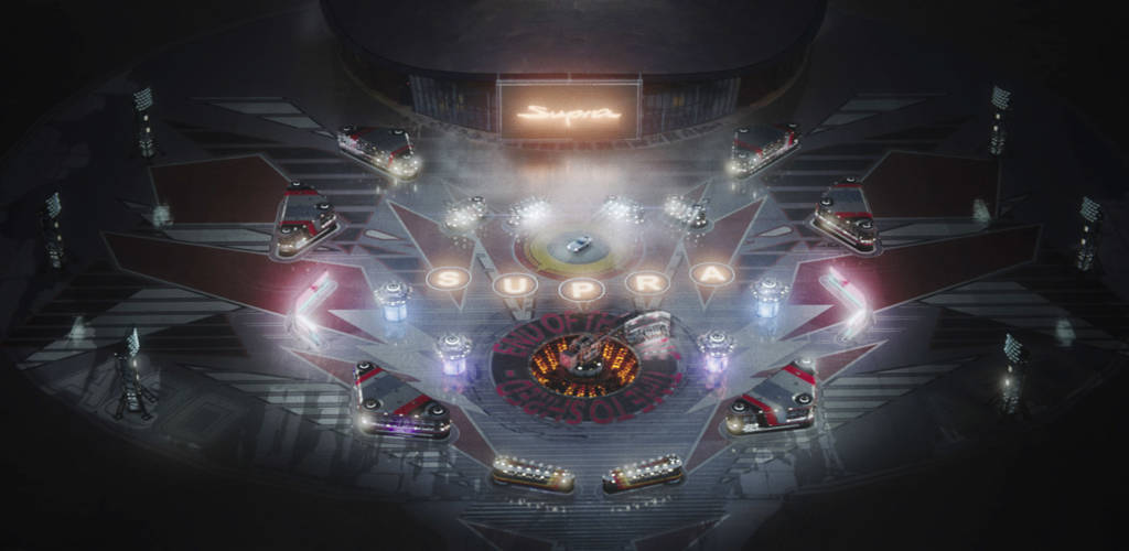 The pinball playfield in Toyota's new Supra advertisement