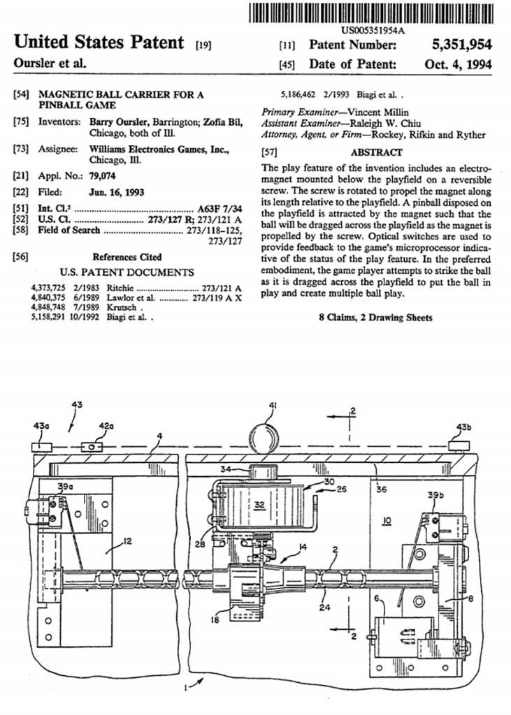 The patent of the Mist Multiball mechanism from Bram Stoker's Dracula