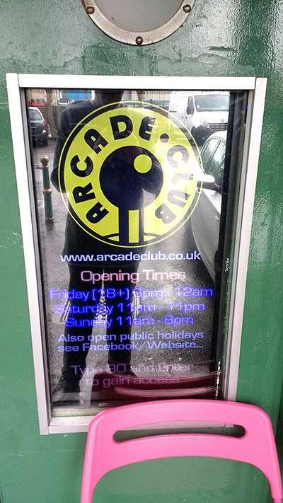Arcade Club is discretely located upstairs