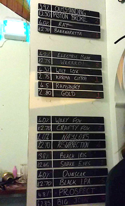 The beer selection at The Trackside