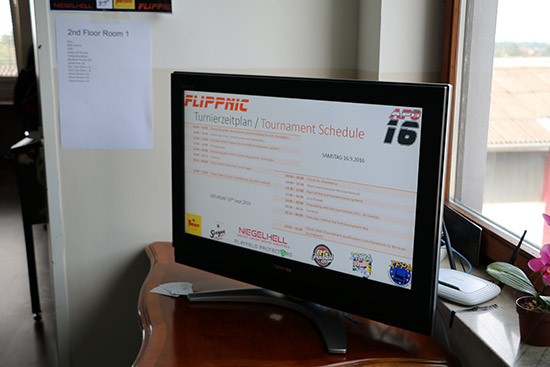 There were several screens showing the schedule and current results