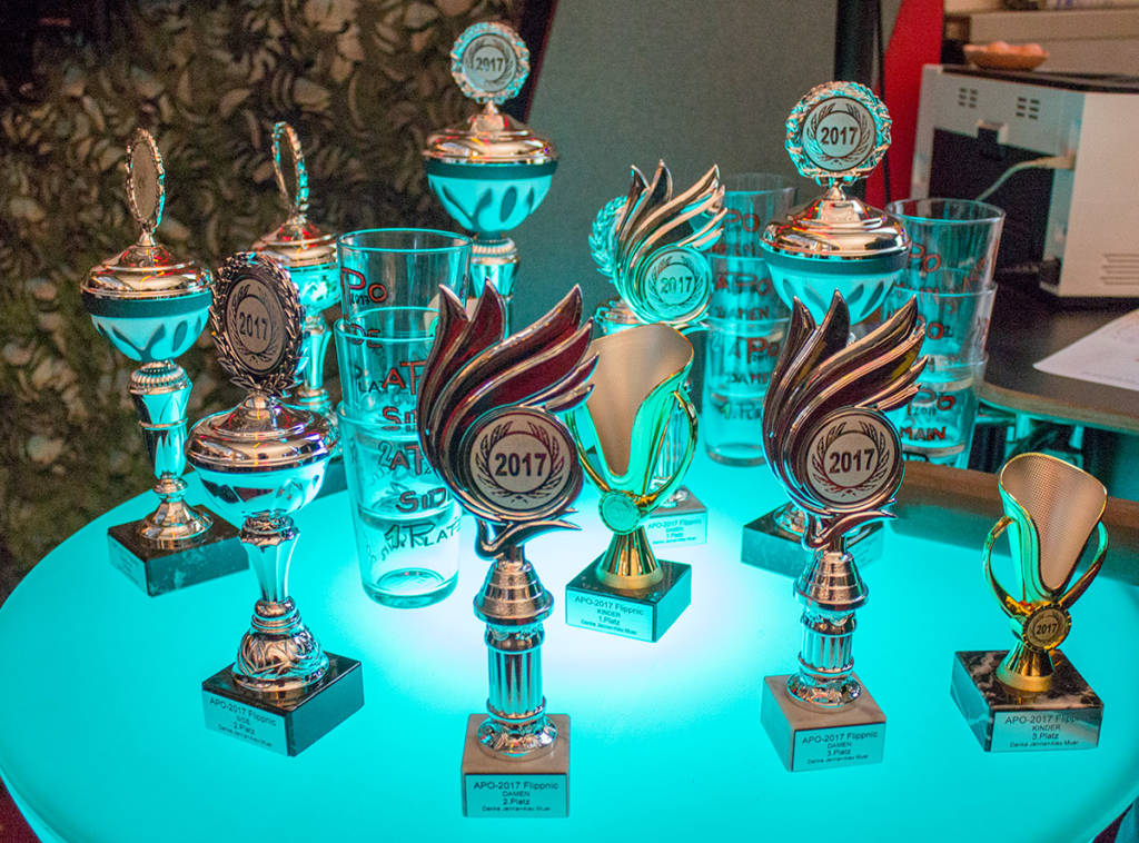 The trophies for the three tournaments
