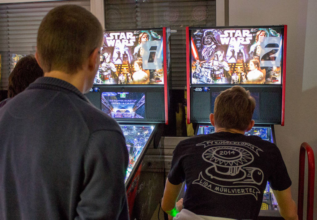 Two new Star Wars Pro machines in the Stern room