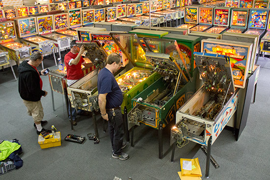 Machines being repaired before the official opening