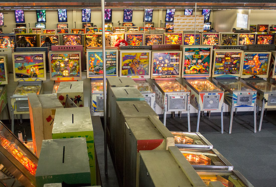The tournament machines on the far side of the room