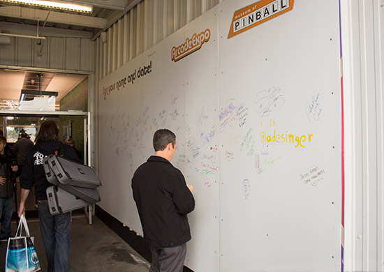 Visitors were encouraged to sign the wall