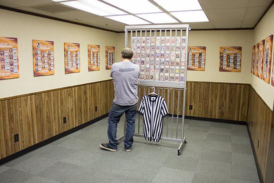 The main trading card display room