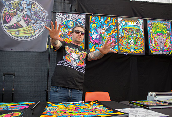 'Dirty' Donny Gillies with some of his artwork
