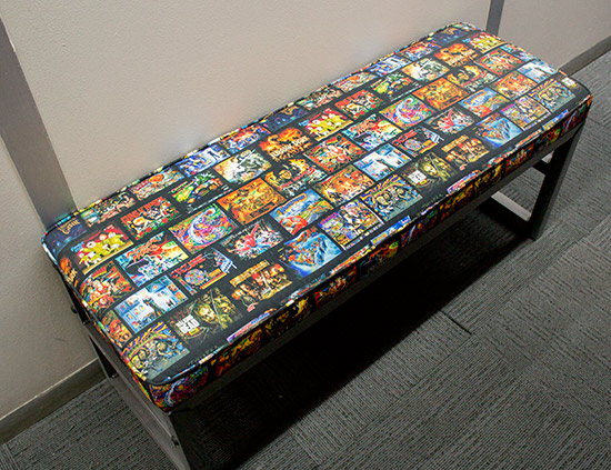 Even the seats are pinball-themed