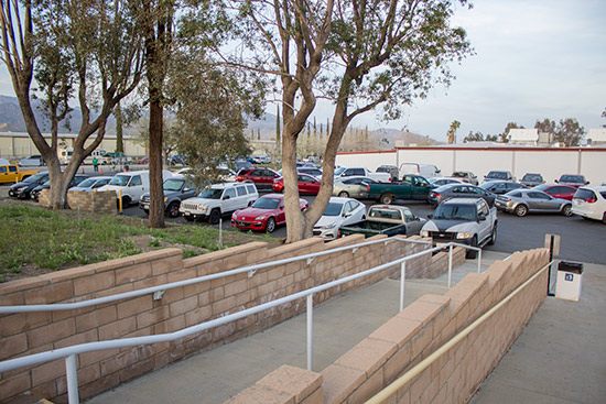 Parking at the front of the building