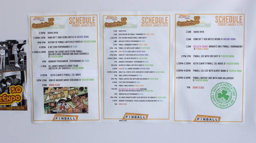 The schedule of events over the three days