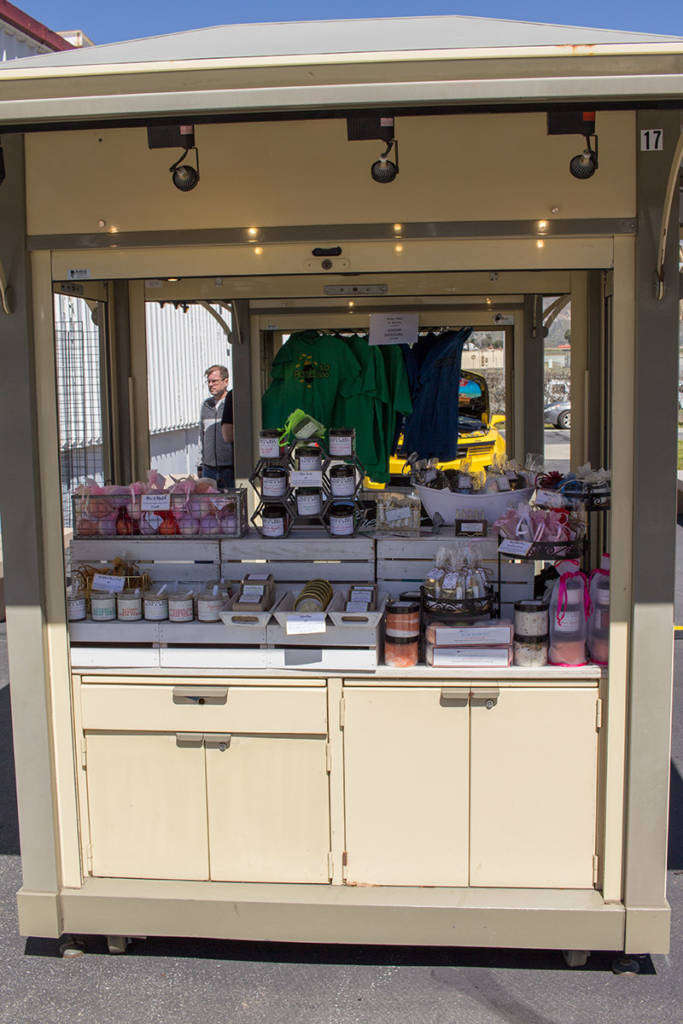 This stand at the front was selling cosmetics and toiletries
