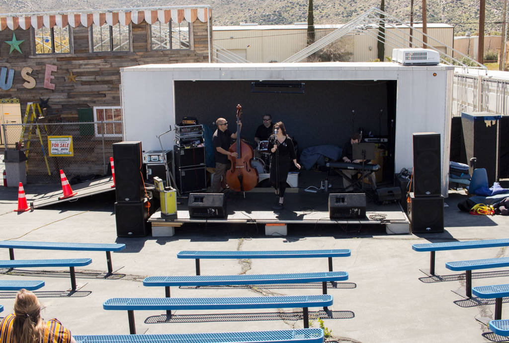 The view of the stage from the patio with Gaslight Express performing
