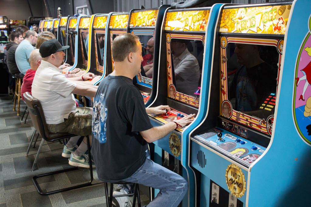 These twelve Donkey Kong machines were used for the Kong-Off tournament