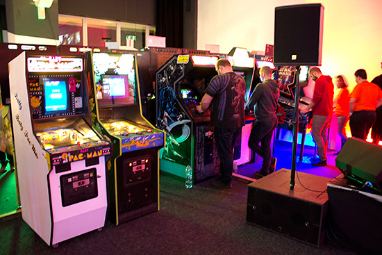 Video games and video/pinball combos in the free-play hall