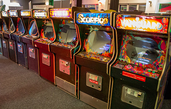 Video games in the free-play hall