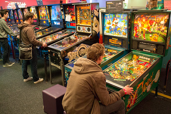 Inside the free-play hall