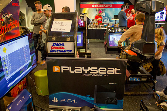 Playseat were showing their gaming seats alongside some sit-down arcade games