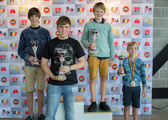 Top four in the Youth Tournament (L-R): Korben Van Wonterghem (3rd), Thomas van Clapdorp (1st), Timber Engelbeen (2nd) and Sander Van Wonterghem (4th)