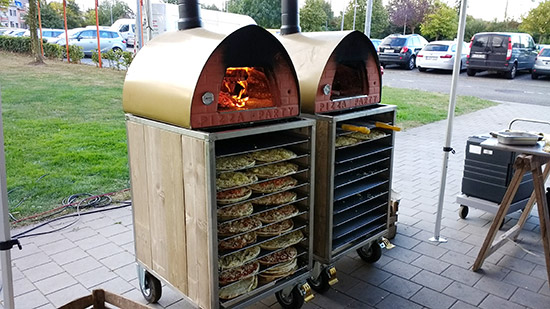 Two wood-fired pizza ovens