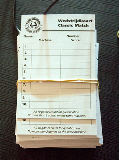 Classic tournament score cards