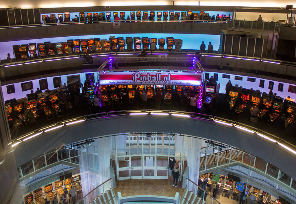 The multiple floors of pinball machines