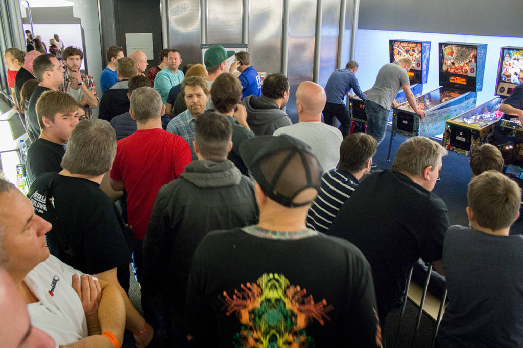 With players waiting for their machine to become available, the entry/exit area became crowded