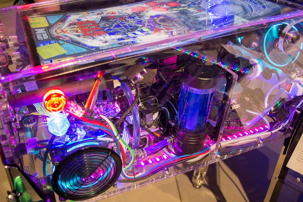 Inside the acrylic mini video pinball
