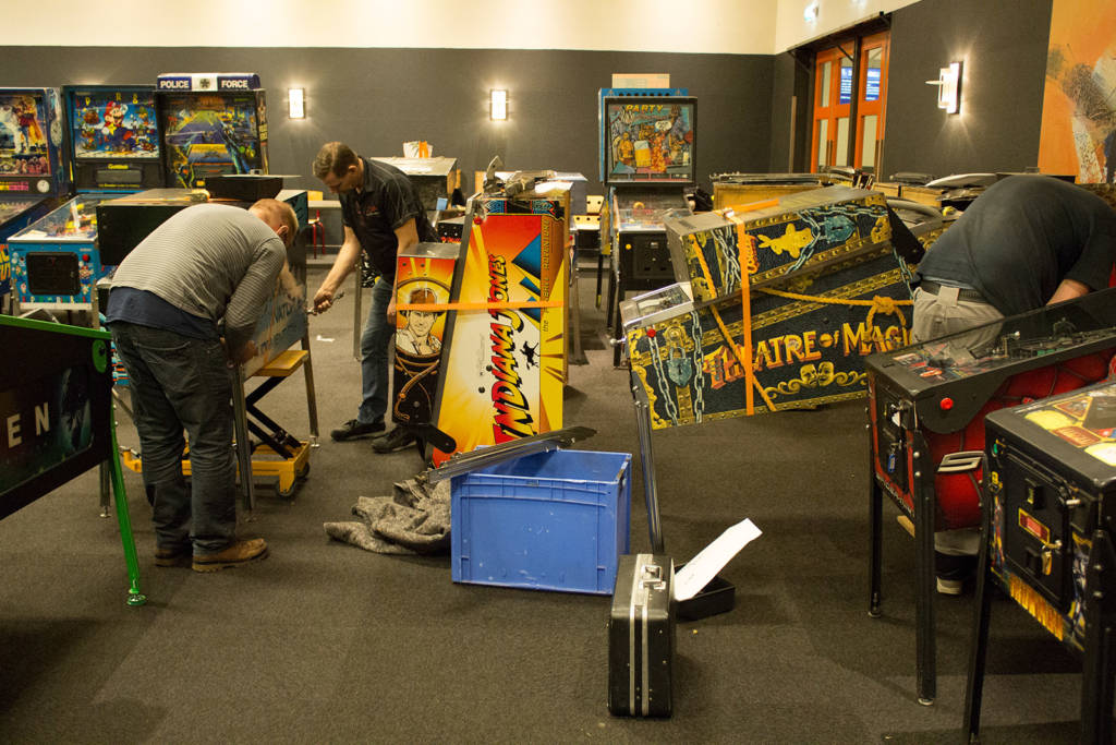 Setting up machines in the first hall