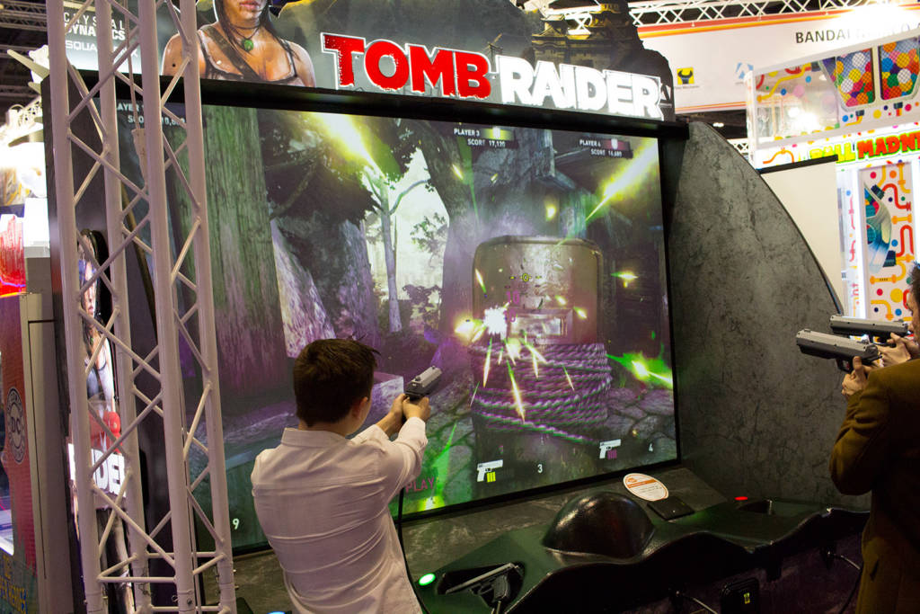 Tomb Raider uses a short-throw projector to produce its large display