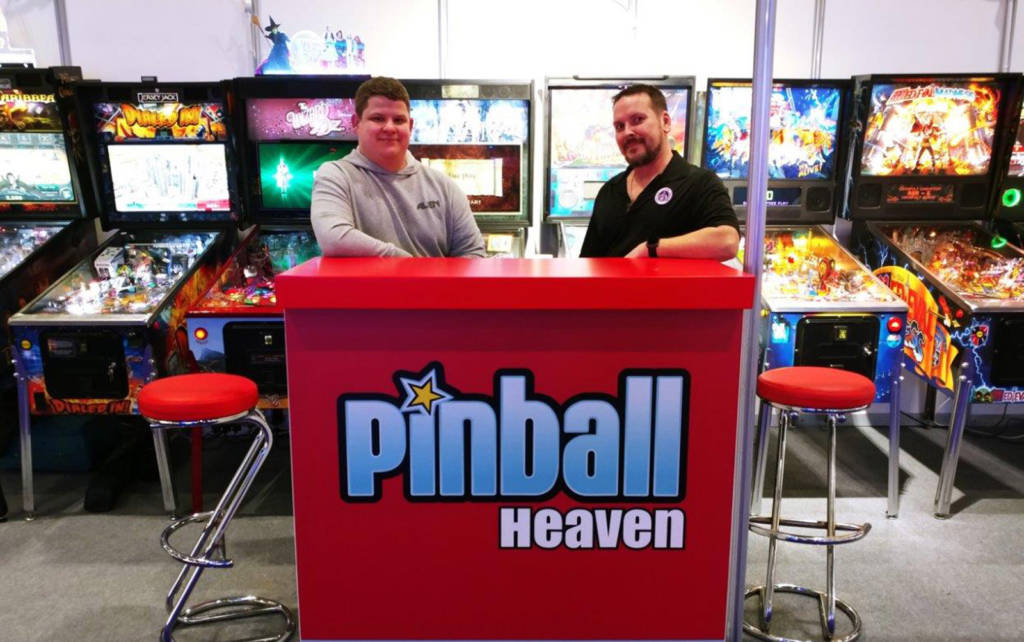 The Pinball Heaven team complete assembly of their stand (picture: Gary Flower)