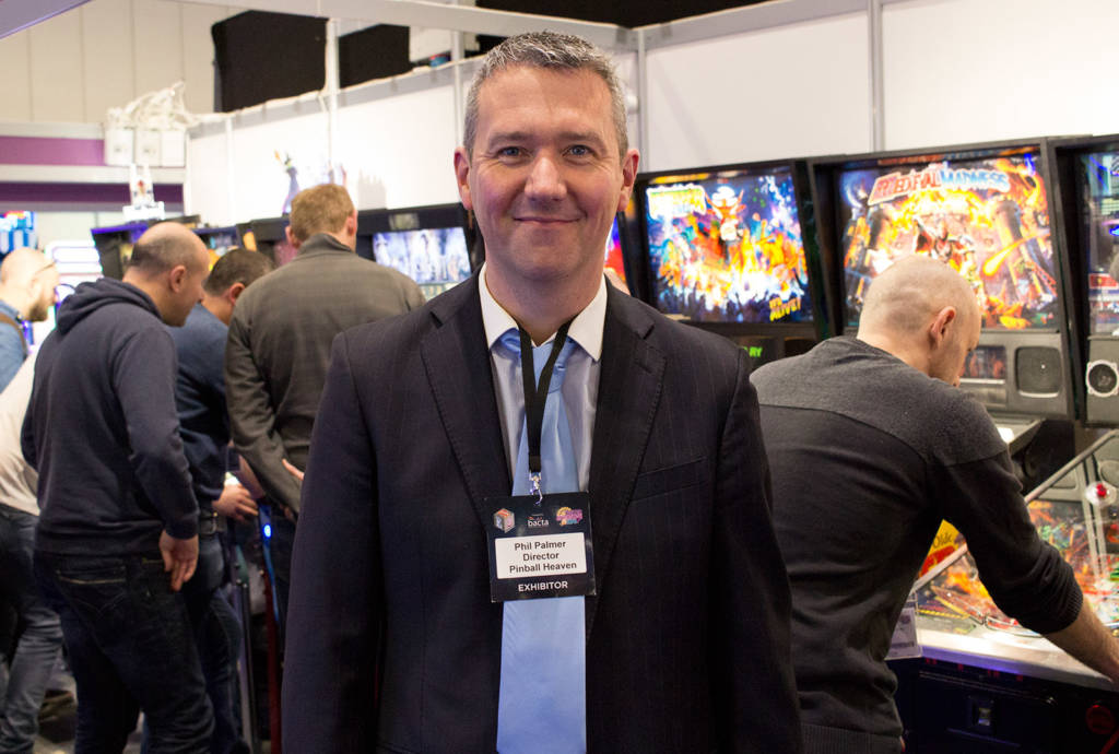 Pinball Heaven's Phil Palmer with his stand