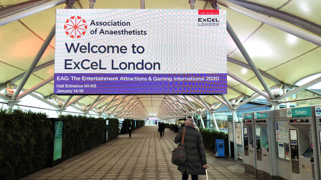The walkway to the ExCel London exhibition complex