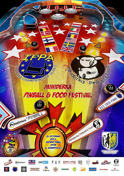 The poster for the ECS Final and the Mihiderka Pinball & Food Festival
