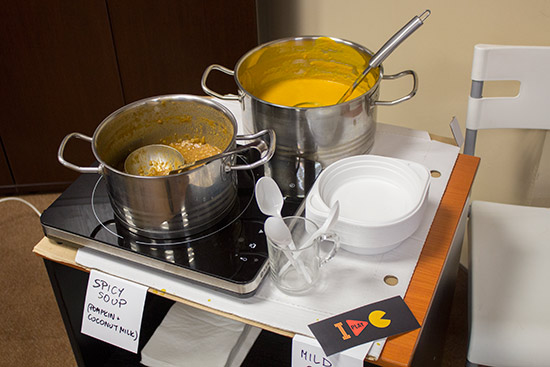 Two types of soup were served each day to combat the cold weather outside