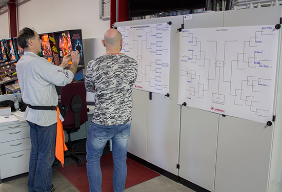 Players check their progress and next opponents