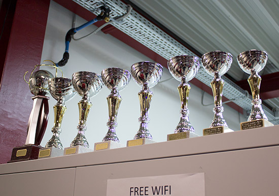 Trophies for the top eight in Sunday's tournament