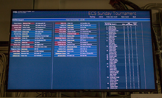 The match pairings and standings were shown on a monitor