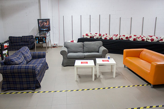 The chill-out zone (with the lights turned on)