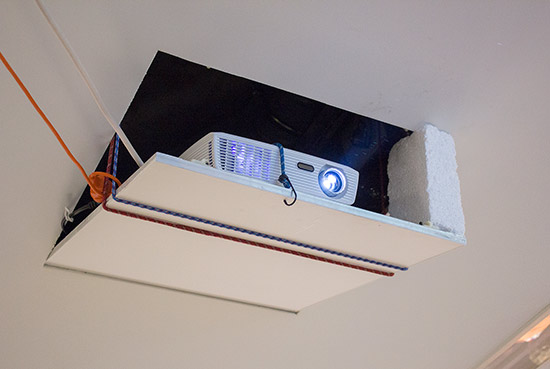 The rather ad-hoc projector mounting
