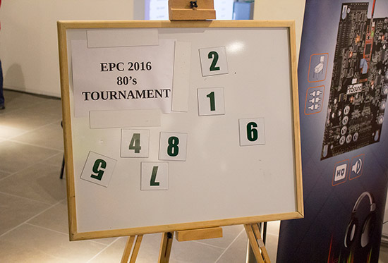 The machine numbers board for the '80s Tournament